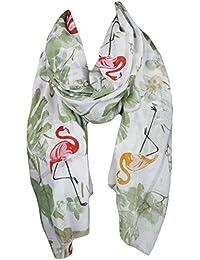 Mevina Damen Schal mit buntem Flamingo Blumen Print Glitzer Silber Metallic groß rechteckig Tuch Schal Halstuch