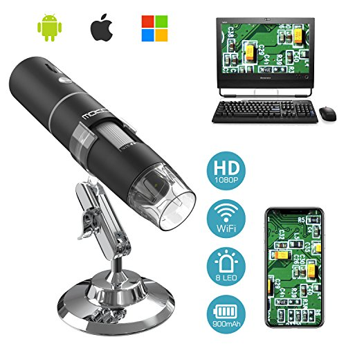 MoKo WiFi Digital Microscopio, 1080P HD 2MP Cámara, Aumento de 50x a 1000x Mini Portatil Endoscopio Inalámbrico con 8 LED, Soporte Metálico para iPhone/iPad/Mac/Window/Android/iOS, Negro