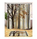 AieniD Badezimmer Deko Modern Muster des Baumes Mehrfarbig Bad Vorhang Size:180X200CM