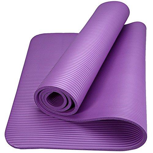 Romix tappetino yoga antiscivolo premium, 15 mm ecocompatibile tappeto esercizi fitness per casa e in viaggio, alto spessore e densità memory foam, non tossico tappetini palestra - viola