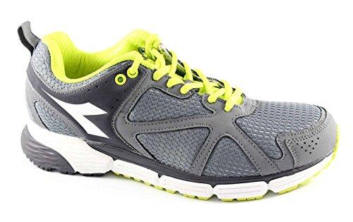 DIADORA 158945 ACTION gray green fluo scarpe uomo sneakers running sport Grigio