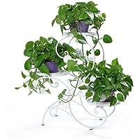 HLC Stand para macetas/Estanteria para macetas en diseño de S/Escalera para macetas de Plantas y Flores con 3 Niveles/Color Blanco