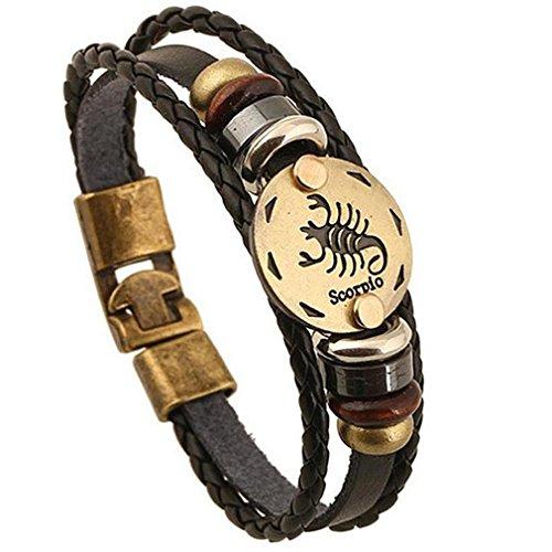 GYJUN Damen Herrn Ketten- & Glieder-Armbänder Freundschaft Vintage Leder Runde Form Schmuck 1 Stück , black