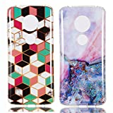 YKTO Custodia Motorola Moto G6 Play/Moto E5 Marmo Colorate Effetto Cover Ultra Sottile Morbida Silicone Case Brillantini [2 Pack] Belle Anti Scivolo Antiurto Colore Caso Posteriore Fata Magica