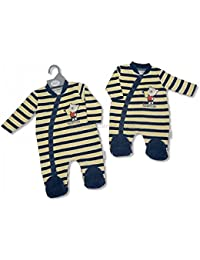 2f2c1633b8bb4 NEW pour enfant garçon combinaison grenouillère en velours rayé bleu marine  et jaune voiture de course