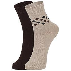 DUKK Men's Brown & Beige Ankle Length Cotton Lycra Socks (Pack of 2)