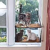 L.S Katzen Haengematten Fenster Katzenbett Bis zu 25kg Stabiler Metallrahmen Hängematte Weiche Betten Sofas Matten Fensterplätze (Doppelt, Braun)