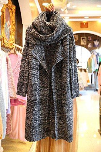 Honghu Femme Casual Loose Manches Longues Lang Pulls Gilets Basic Loisirs Sweater Gris foncé