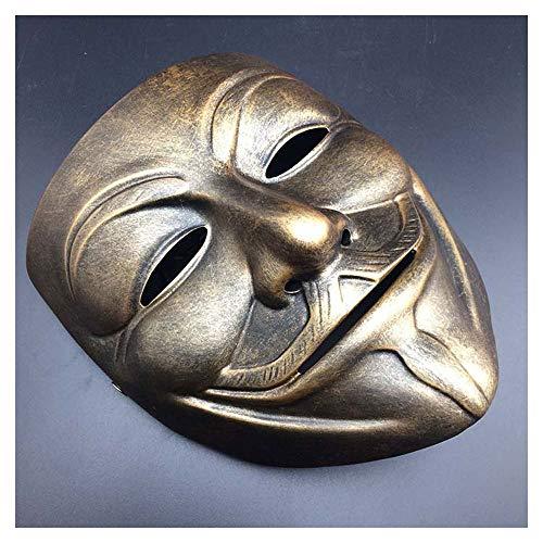 Halloween V Wort Geek Vendetta Maske Harz Film Und Fernsehen Horror Dance Männlichen Cos Guy Fawkes Dekoration (Color : Copper)