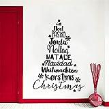 Zyzdsd Neue Design Weihnachtsbaum Wandtattoo Ferienhaus Dekoration Vinyl Wandkunst Weihnachtsbäume Wandaufkleber Abnehmbare Vinyl 57 * 81 Cm