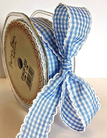 Bertie's Bows Baby Blue Gingham Print White Lace Edge 25mm (NB Sold by the metre)