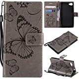 Hozor Sony Xperia Z5 Compact Handyhülle, Retro Großer Schmetterling Muster PU Kunstleder Ledercase Brieftasche Kartenfächer Schutzhülle mit Standfunktion Magnetverschluss Flip Cover Tasche, Grau