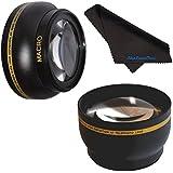 55mm HD 2.2x Telephoto & .43x Wide Angle Lens Bundle For Nikon AF-P DX NIKKOR 18-55mm F3.5-5.6G VR Lens