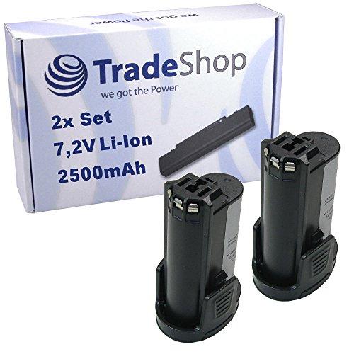 Preisvergleich Produktbild 2x Trade-Shop Premium Li-Ion Qualitäts Akku 7,2V / 2500mAh ersetzt Dremel 757-01, 855-02, 855-45, 2.615.085.5JD, 26150855JD für Dremel 8000-01, 8001-01