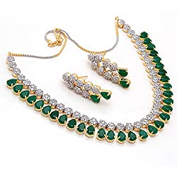 Jewar Gemstone Emerald Cz Vintage Pave Jewelry Gold / Silver Plated Necklace Set For Women