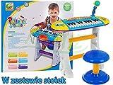 Keyboard mit Mikrofon und Hocker BB383B - Standkeyboard - Kinder Piano - Keyboard Spielzeug - Klavier - Kleinkind Musikinstrument - BLAU