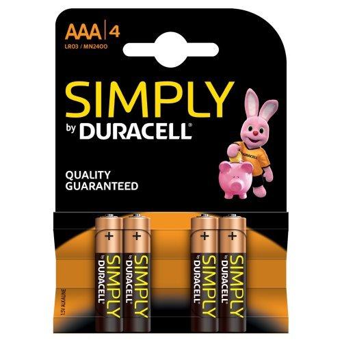 Duracell MN2400B4S Pack de 4 Piles AAA Noir/Copper