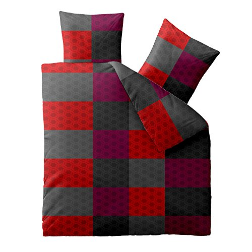 aqua-textil Concept Bettwäsche 200 x 200 cm 3teilig Mikrofaser Bettbezug Susan Karo-Muster rot grau violett -