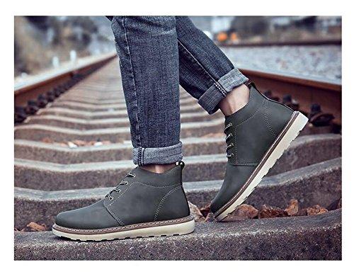 Hommes Skateboard Chaussures Martin Dress Man Casual Hommes Round Toe Chaussures À Lacets High Shoes Coiffures Légère Chaussures De Plein Air 38-46 Gris