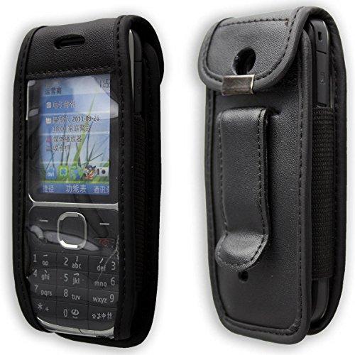 caseroxx Handy-Tasche Ledertasche mit Gürtelclip für Nokia C2-01 aus Echtleder, Handyhülle für Gürtel (mit Sichtfenster aus schmutzabweisender Klarsichtfolie in schwarz)
