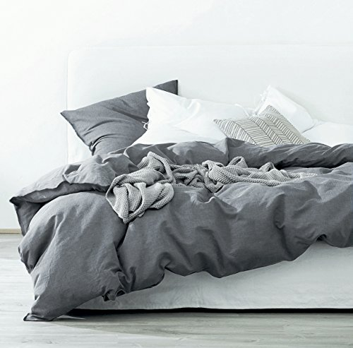 Gewaschen Baumwolle Chambray Bettbezug Farbe Casual modern Style Betten Set entspanntes Weiche Haptik natur Faltig Optik, baumwolle, anthrazit, Twin - Full Loft Twin