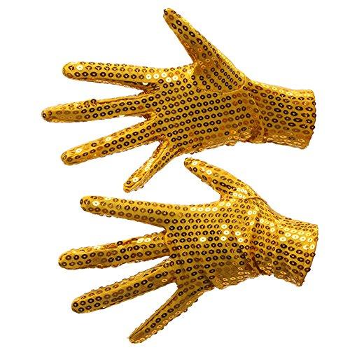 illetten Handschuh Sequins Gloves Kostüm Zubehör für Erwachsene Cosplay Tanz Bühnen Performance Golden ()