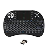 JUSTOP Backlit Mini Wireless Keyboard With Touchpad and Multimedia Keys for Android TV Box HTPC PS3 XBOX360 Smart Phone Tablet Mac Linux Windows OS, New Model With Back Light