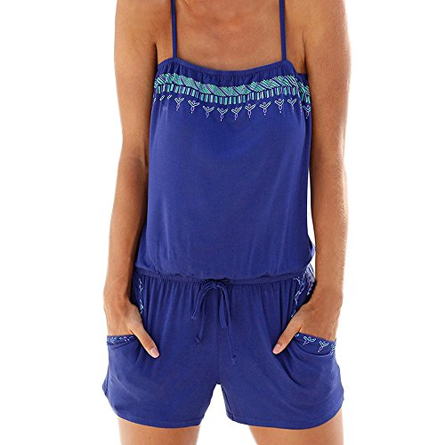 Women Jumpsuit , Womens Holiday Beach Casual Mini Playsuit Ladies Jumpsuit Rompers (L, Blue)