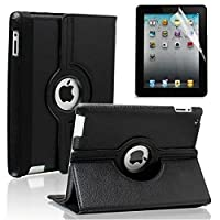 Accessories-Online DN-Technology New Apple iPad 4, iPad 3, iPad 2 Black 360 PU Leather Case / Cover /Wallet and 360 Degree Rotating Stand For New Apple iPad 4th Generation (With Retina Display), iPad 3 iPad 2