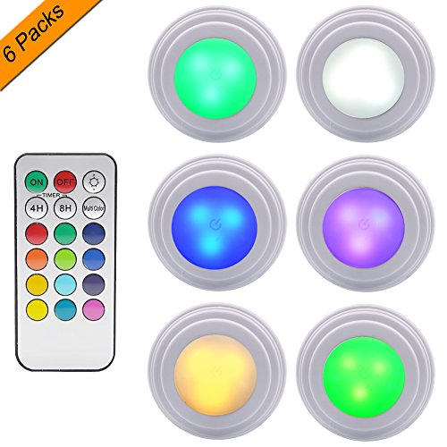 GreeSuit Under Cabinet LED Lights Wireless Remote Control Brightness Adjustable LED Puck Cupboard Light, Multi Color LED Accent Lights Battery Powered (Pack of 6)