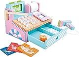 Kasse aus Holz für Kaufmannsläden, mit Scanner, Spielgeld, Kartenleser, drückbaren Knöpfen, Kassenrolle und weiterem Zubehör in Pastellfarben, ab 3 Jahre