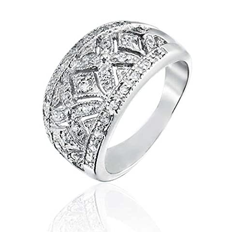 Pave CZ Vintage Style XO Hugs and Kisses Band Ring