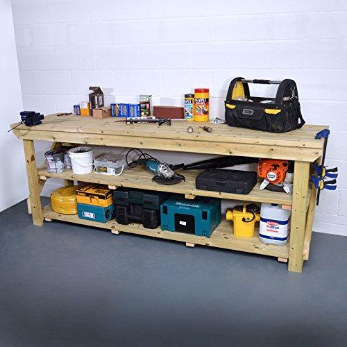 Rutland County Garden Furniture Wooden Work Bench - Pressure Treated - With Shelf (8ft)
