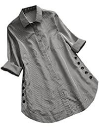 3eb7bc973e75 DEELIN Camiseta Larga De Manga Larga De Gran TamañO De Mujer Escocesa con  Botones Flojos Top