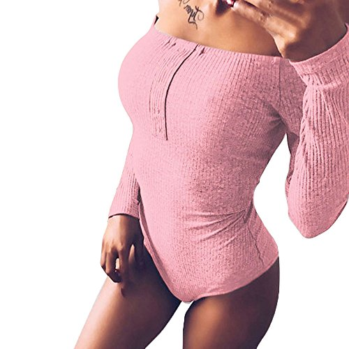 VENMO Mode Frauen Solide Sexy Schulterfrei Slim Fit Long Sleeved Playsuit Damen Jumpsuits Langarm Outfit Bandage Dreieck Overalls Body Trikot Camisole Weste Stretch Riemchen Siamesische Hose (Pink, M)