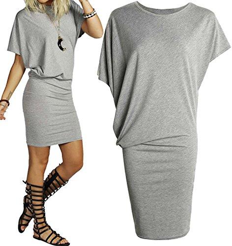 Mesdames drapée Mini robe asymétrique à manches chauve-souris courtes haut long uni Gris clair