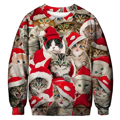 FRAUIT Nette kleine Katze im Haus 3D Drucken Unisex Herren Pullover Langarmshirt Weihnachtspullover Winter Loose Jumper Santas Kleidung Tops Outwear Coat Warm Bequem Bluse