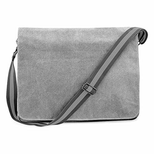 Quadra–Borsa a tracolla in tela–vinateg–qd610misto uomo–DONNA grigio grigio grigio