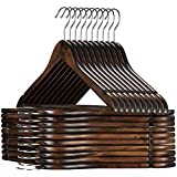 AARAV HOUSE Heavy Duty Space Saving Clothes Hangers with Nonslip Trouser Bar, Made of Solid Lotos Wood with Extra Smooth Finish Holds, for Heavy Garment (Pack of 6 - Walnut)