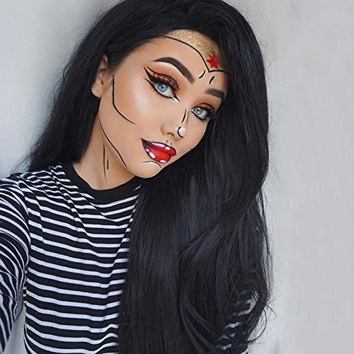 WQWIG Klassische Lange Perücke für Damen hochwertige synthetische Haar natürlich aussehende Cosplay Perücke Kostüm Cosplay Perücke -