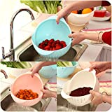 riso cesto del bucato, Nacola 2in 1di verdure bacino Wash Rice Sieve fruttiera Fruit basket per cucina pink