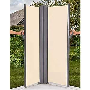 seitenmarkise doppelt sichtschutz zum ausziehen beige ca 2 x l300 x h154 cm. Black Bedroom Furniture Sets. Home Design Ideas