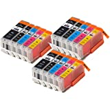 15 XL IATUK CLI-551XL/ PGI-550XL Compatible Ink Cartridges for Canon Pixma MG5450 MG5550 MG5650 MG6350 MG6450 MG6650 MX725 MX925 MX725 MG7150 iP7250 Printers