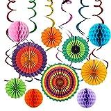 IMMEK 16 Pcs Party-Dekoration,Mexikanische Fiesta zum Aufhängen Papier Fans Colorful rund Rad Disc Laterne Dekoration für Party Hochzeit Geburtstag Festival Weihnachten Event und Home Decor (Mehrfarbig-03)