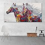 RTCKF Moderne Tier Zwei Pferde Graffiti Kunst leinwand