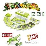 REDFAM 15-in-1 Fruit & Vegetable Graters, Slicer, Chipser, Dicer, 12 Cutting Blades (Multicolour)