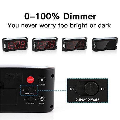 Despertador Digital Reacher LED Reloj despertador con luz nocturna Función Snooze Atenuador de brillo de rango completo 4 9 pulgadas Pantalla grande de dígitos rojos alimentación eléctrica Negro