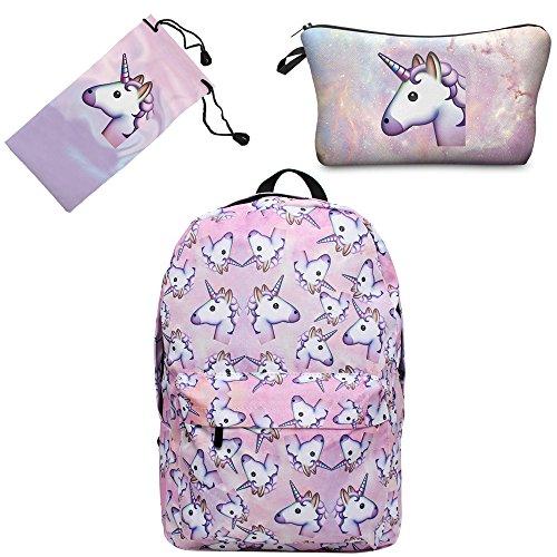 Imagen de smallbox 2017 nueva moda unicornio patrón  de la escuela de las muchachas totalmente impreso viaje de la cabina bolsa pack de 3  rosa