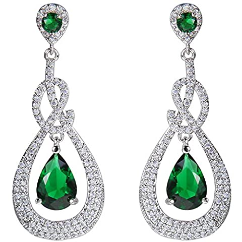 EVER FAITH® Zirkonia CZ elegant glänzt Tropfen Form Damen Ohrringe Anhänger Silber-Ton Grün N07595-2