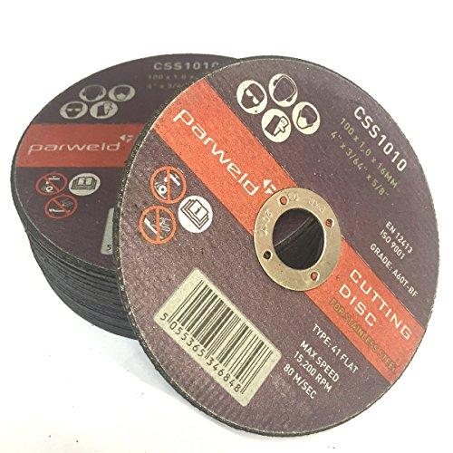 (50 unidades) Parweld (cm 10,16) 100 mm x 1 mm de grosor discos de corte de acero inoxidable - discos corte metal 16 mm calibre